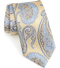 men's nordstrom men's shop paisley silk tie, size regular - yellow