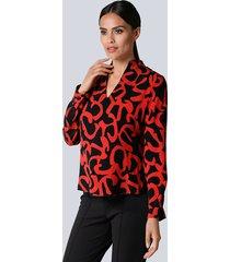 blouse alba moda zwart::rood