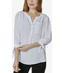 women's 3/4 sleeve tie cuff blouse