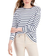 style & co petite striped drop-shoulder top, created for macy's