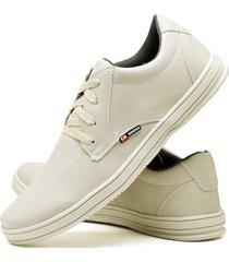 sapatênis sapato casual cr shoes com cadarço 1510m areia bege.
