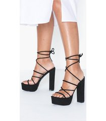 nly shoes lace up plateau heel high heel