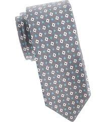 geometric silk & linen tie