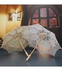 21''women bride cotton lace embroidery hollow out ombrella parasol wedding prop decoration