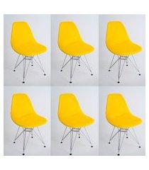 kit com 06 capas para cadeira base madeira eiffel wood amarelo