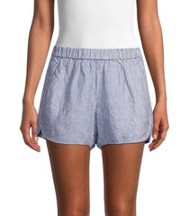 pure navy women's striped pull-on linen shorts - light blue - size xl
