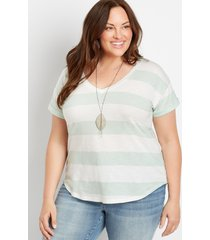 maurices plus size womens 24/7 mint stripe drop shoulder classic tee green