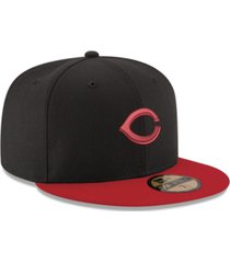 new era cincinnati reds black & red 59fifty fitted cap