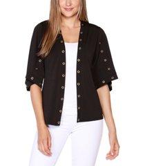 belldini black label petite embellished 3/4 sleeve cardigan top