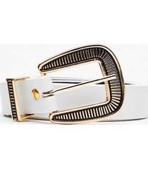 womens oh this ain't over-sized buckle belt - white