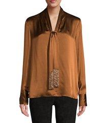 kendal beaded tie-neck silk blouse