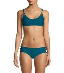 mikoh swimwear women's madrid scoopneck bikini top - waterfall - size xl