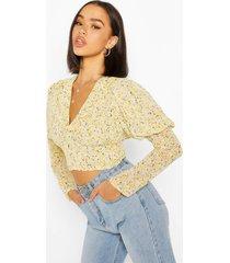 geweven bloemenprint blouse met pofmouwen, geel