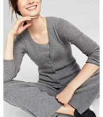 charter club cashmere ribbed button-front cardigan, created for macy's