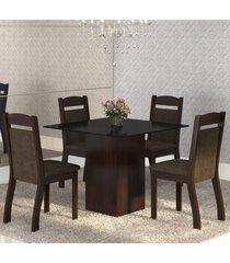 mesa de jantar 4 lugares brilho ameixa/chocolate/preto - mobilarte