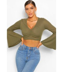 flare sleeve ruched front rib top, khaki