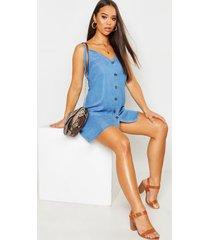 denim chambray button through slip dress, blue