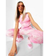 tie dye hemd en joggingbroek set, pink