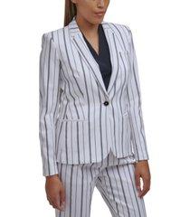 calvin klein striped one-button blazer