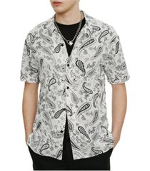 eleven paris men's woven printed short sleeve shirt