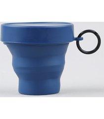 copo retrátil com tampa chaveiro azul