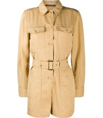 alberta ferretti long-sleeved belted playsuit - brown
