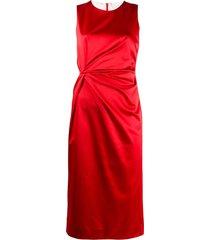 p.a.r.o.s.h. twisted-waist sleeveless satin midi dress - red