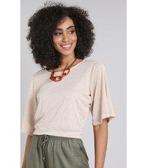 blusa feminina em lurex com abertura manga curta decote redondo bege