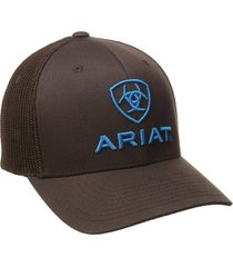 ariat men's blue half mesh hat, brown, small/medium