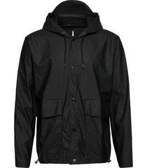 short hooded coat regenkleding zwart rains