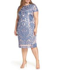 plus size women's js collections mesh soutache dress, size 14w - blue