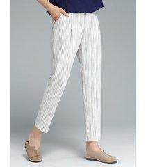 pantaloni in cotone elastico in vita a righe bianche