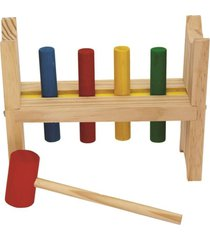 bate pinos base com 4 pinos coloridos + martelo - fundamental