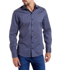 camisa dudalina manga longa tricoline estampa geométrica masculina (estampado, 6)