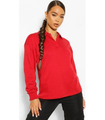 oversized rugby top, red