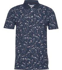 floral print polo shirt s/s polos short-sleeved blå lindbergh