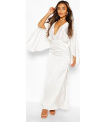 petite maxi jurk met kimonomouwen, wit