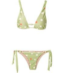 adriana degreas printed triangle bikini set - multicolour