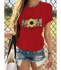 camiseta de manga corta sunflower leopard letter crew cuello