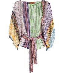 missoni mare signature stripe-weave beach blouse - purple