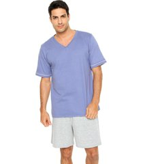 pijama lupo bicolor azul/cinza