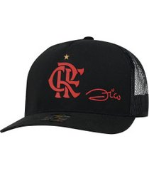 boné aba curva do flamengo zico supercap crf silk - snapback - trucker - adulto - preto
