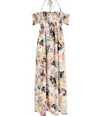 liu jo floral-print drop-shoulder dress - white