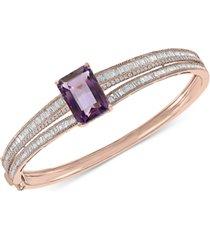 effy pink amethyst (7-1/3 ct. t.w.) & diamond (1-7/8 ct. t.w.) bangle bracelet in 14k rose gold