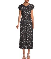 rebecca taylor women's maui fleur cropped jumpsuit - black combo - size 6