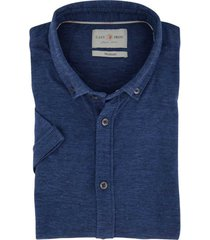 korte mouwen overhemd cast iron blauw gemeleerd
