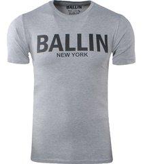 ballin est. 2013 heren t-shirt ronde hals slim fit licht grijs