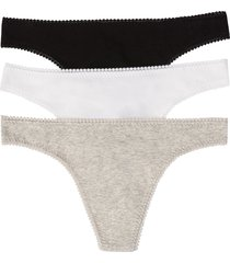 on gossamer cabana cotton 3-pack thongs, size small in black/white/gray at nordstrom