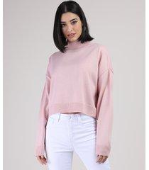 suéter de tricô feminino cropped amplo gola alta rosê