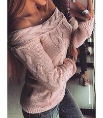 suéter de manga larga con hombros descubiertos